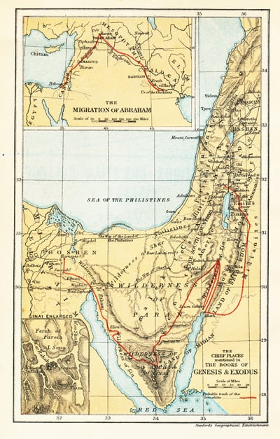 Map: The Chief Places mentioned in the Books of Genesis and Exodus