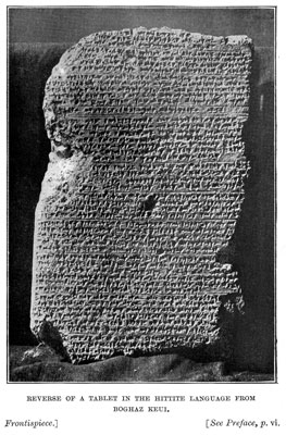 Reverse of a Tablet in the Hittite Language from Boghaz Keui [frontispiece]