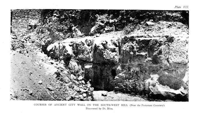 Plate VII. Courses of Ancient City Wall on the South-West Hill - facing p.214