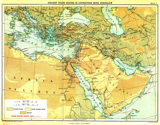MAP VII. Ancient Trade Routes in connect on with Jerusalem – facing p.1